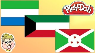 Play Doh Flags! Sierra Leone, Kuwait, and Burundi! EWMJ #344