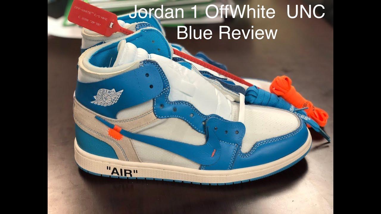 4cb5a50097db24 Nike Air Jordan 1 X OffWhite UNC Blue review PK God - YouTube