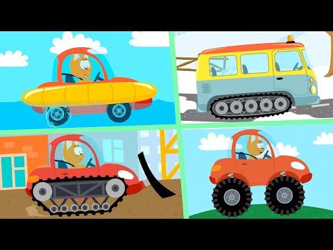 СБОРНИК Котёнок и волшебный гараж - 10 серий мультфильмы про машинки без перерыва