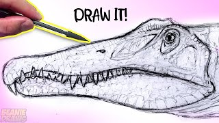 How To Draw A Spinosaurus head Tutorial - Mechanical pencil review