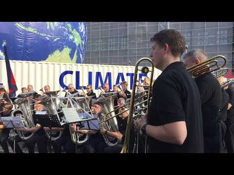 Amazing grace song by an orchestra at a Copenhagen's square