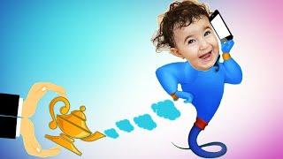 Celina play with Aladdin's magic lamp - سيلينا وحسونة مع المصباح