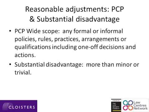 Reasonable adjustments Discrimination and unlawful acts under the Equality Act