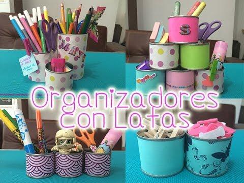 Organizador con latas manualidades con reciclaje para - Manualidades faciles con latas ...