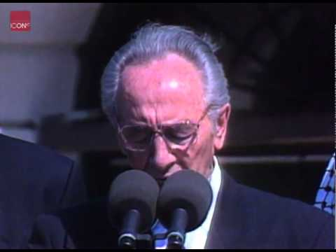 Shimon Peres Speaking After The Signing Of The Israeli/PLO Peace Agreement
