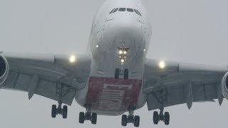 Storm Emma: A380 crosswind double bill (4K)