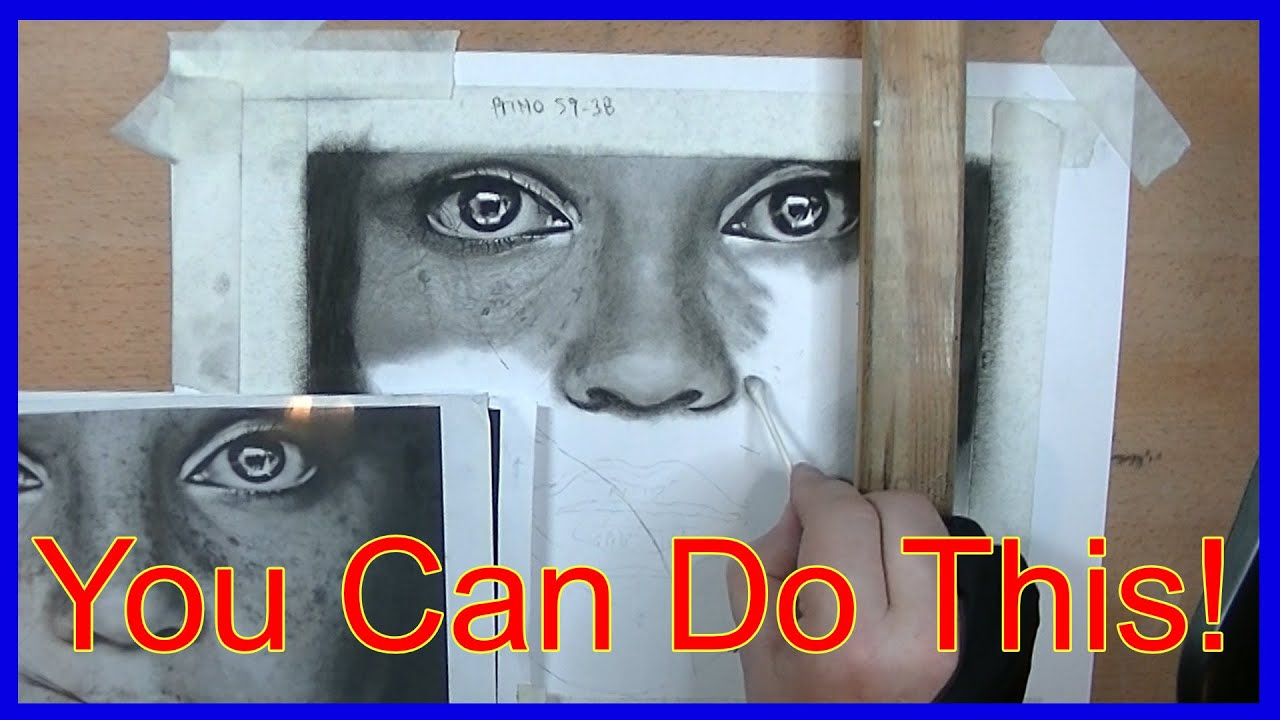 HOW TO DRAW Realistic Eyes and Nose   Photorealism Lesson NO-TIMELAPSE