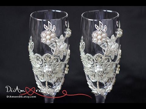 e9eb062a48e Wedding champagne flutes with beads - YouTube