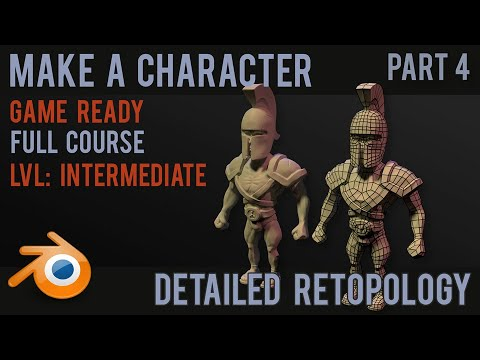 Character modelling tutorial- part 4 - detailed retopology - 2018