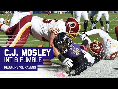 C.J. Mosley Picks Off Kirk Cousins & Fumbles at Goal Line for Touchback | Redskins vs. Ravens | NFL