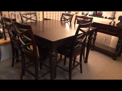 Ashley Porter Counter Height Extension Dining Set Review Youtube Top Reviews Ashley Dining | Tall Small Kitchen Table