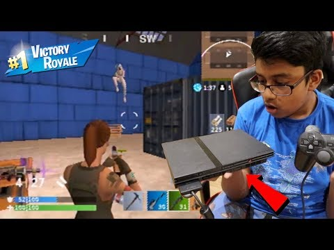 My Little Brother PLAYS Fortnite Battle Royale ON PLAYSTATION 2...