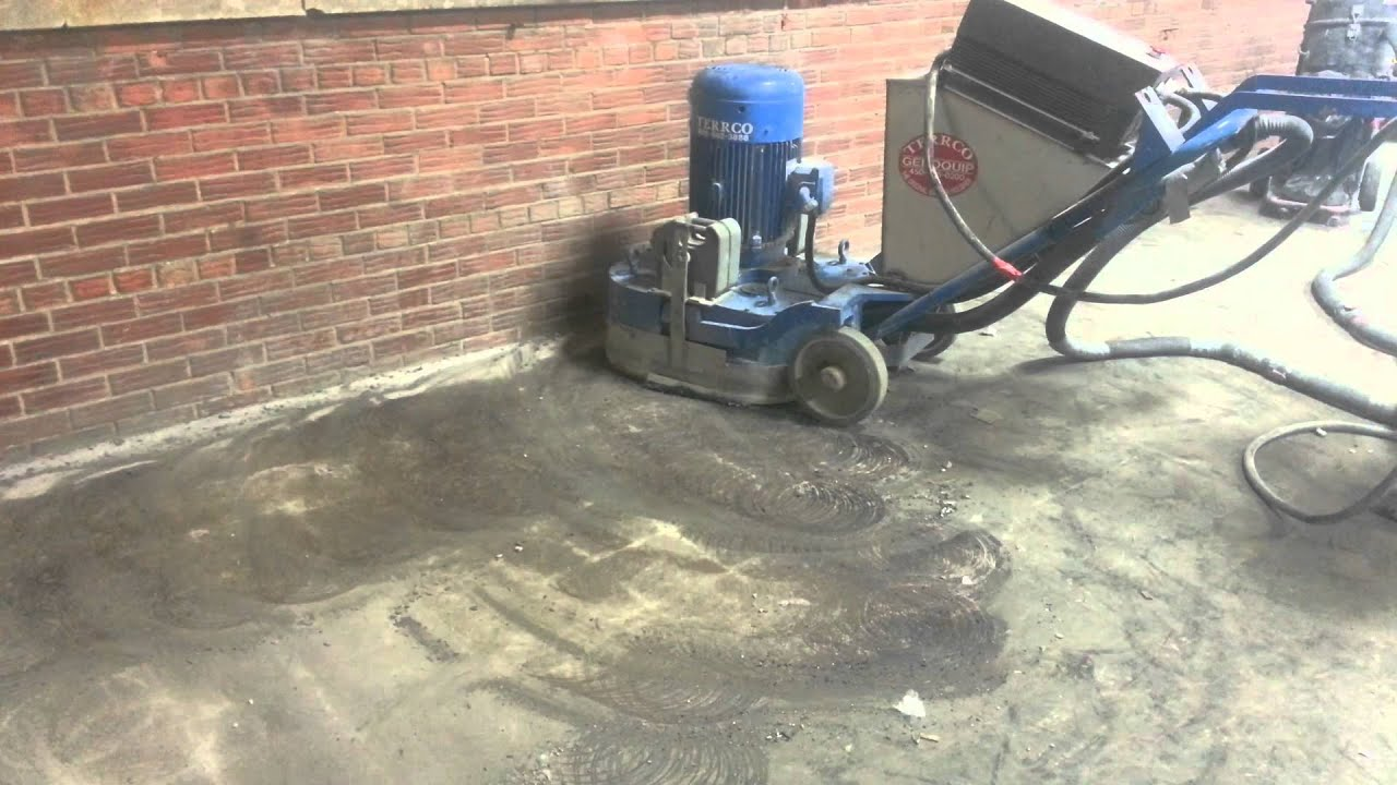 Terrco Grinder Glue Removal Montreal Concrete Floors Youtube