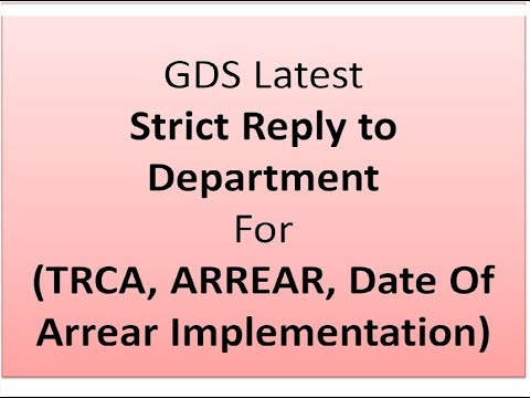 GDS Good Reply to Department , TRCA, ARREARS