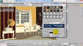 Интерьер в 3d max - курс Патефонная комната - урок 31 - vray материалы - схема создания