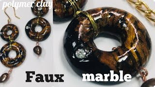 DIY FAUX MARBLE MINI DONUTS. JEWELRY SET MADE FROM POLYMER CLAY.