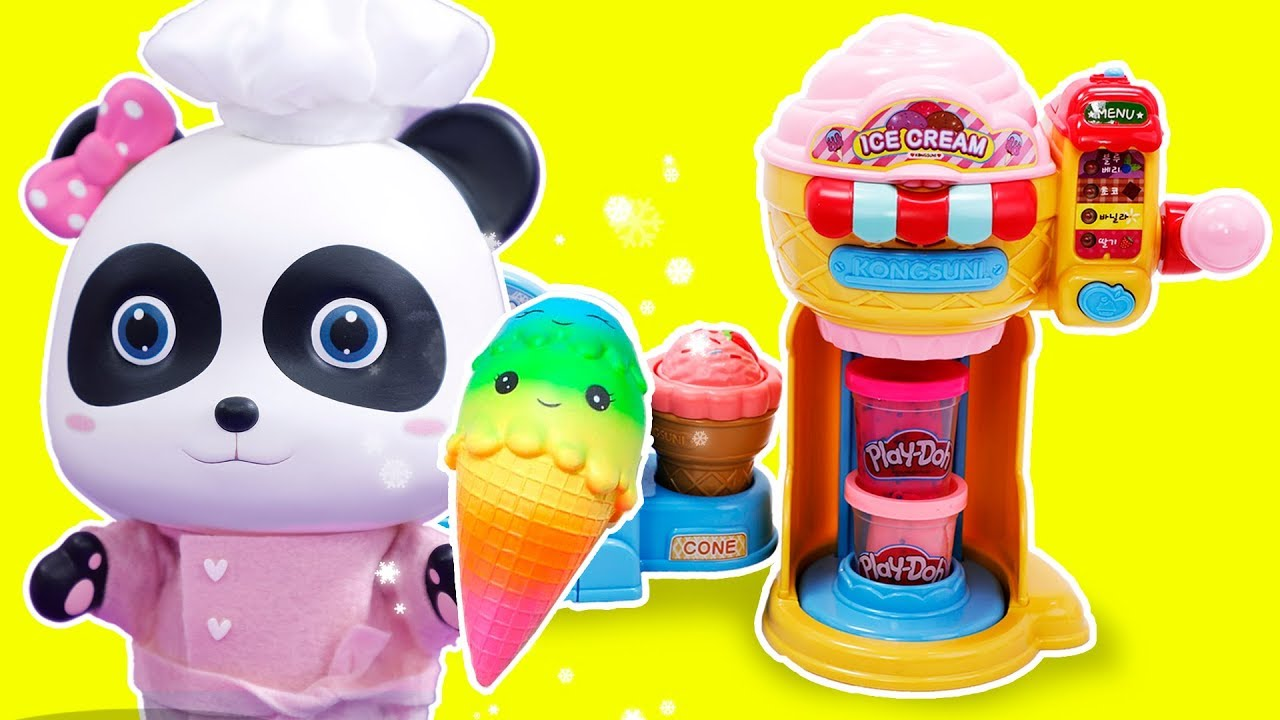 Panda Miumiu Ice Cream Shop Play Play Doh Learn Colors