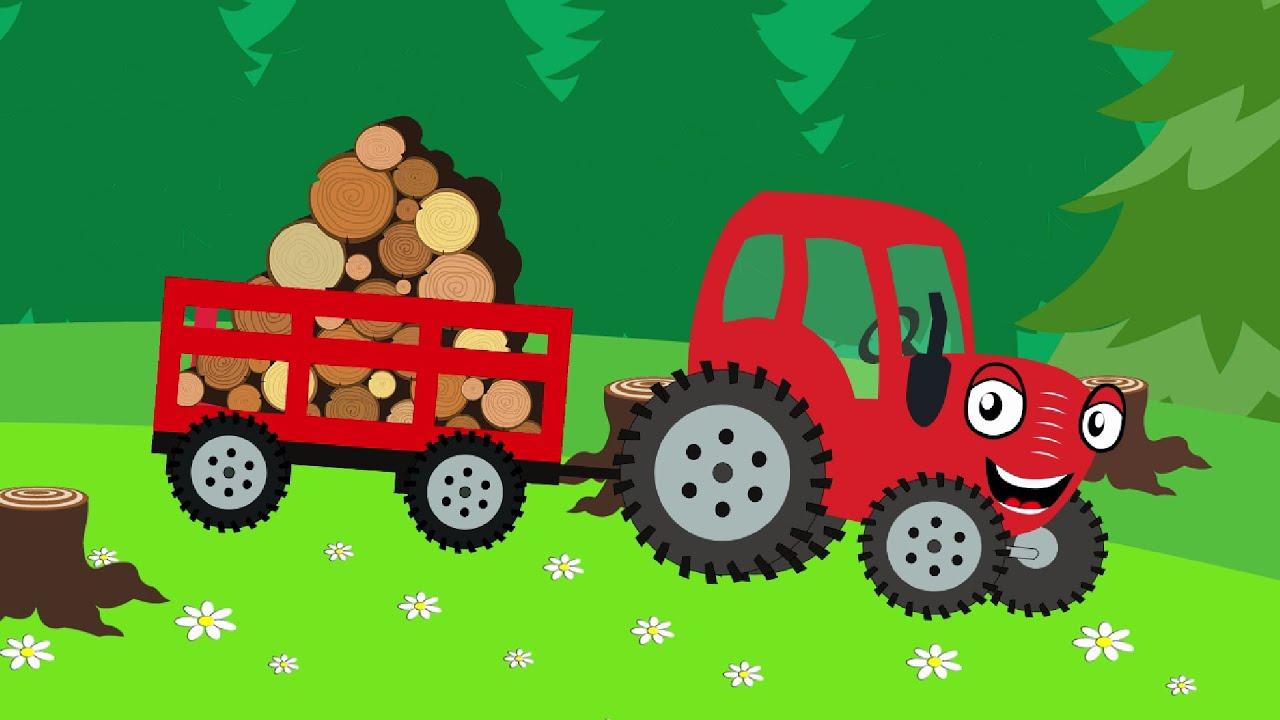 Тыр Тыр трактор может всё! Красный трактор едет по полям. Песенки для детей.