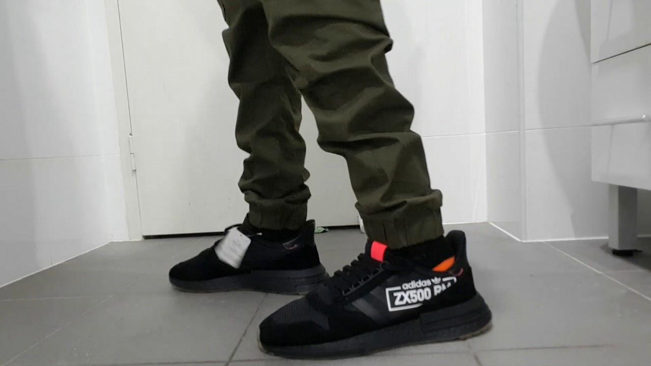 0c88d7ee7baba Adidas Original ZX 500 RM black gum bottom on feet - YouTube