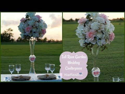 DIY Tall Rose Garden Wedding Centerpiece | DIY Tall Centerpieces | DIY Tutorial
