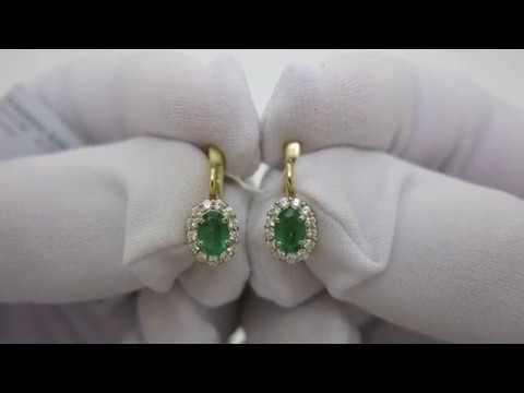 Золотые серьги с изумрудом и бриллиантами 1231165