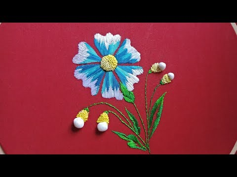 Hand Embroidery A Beautiful Flower With Stump Work II 3D Embroidery