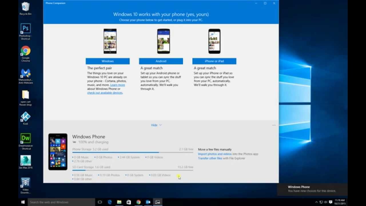 Transfer all photos from your phone to your Windows 10 ...