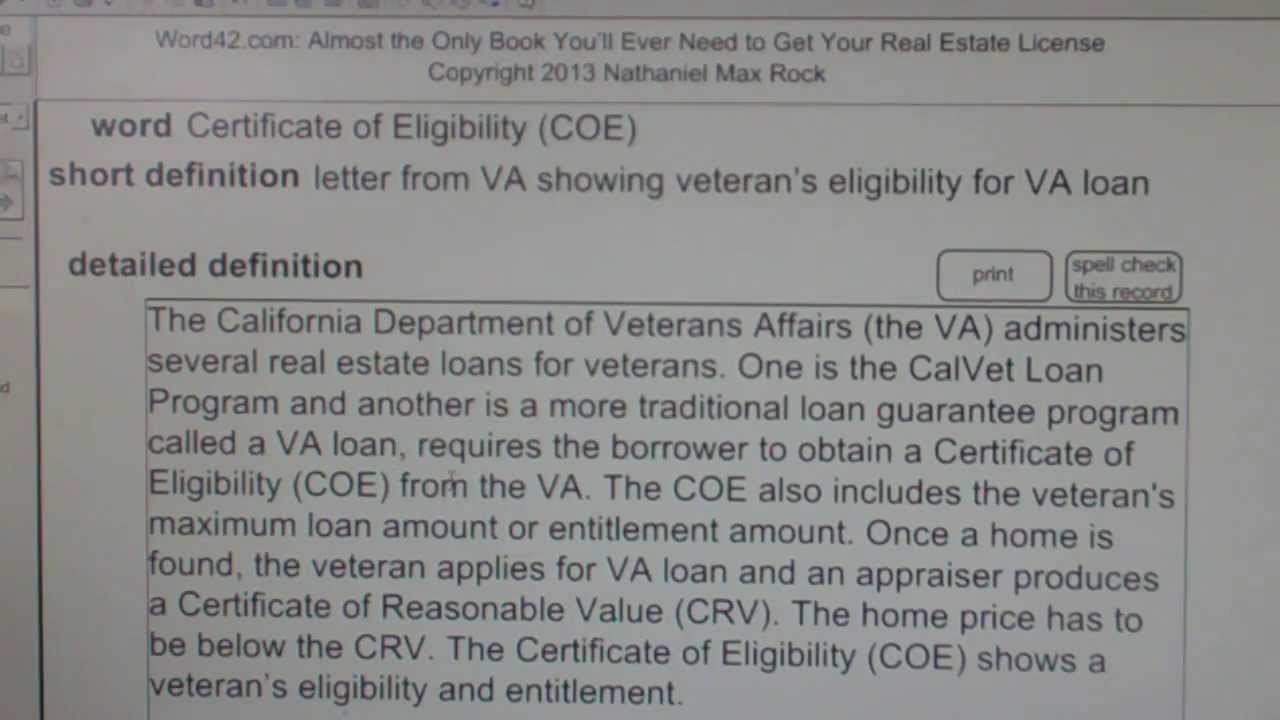 certificate of eligibility coe ca real estate license exam top pass words vocabubeecom