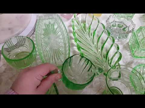 My mum gave me her whole green depression glass collection