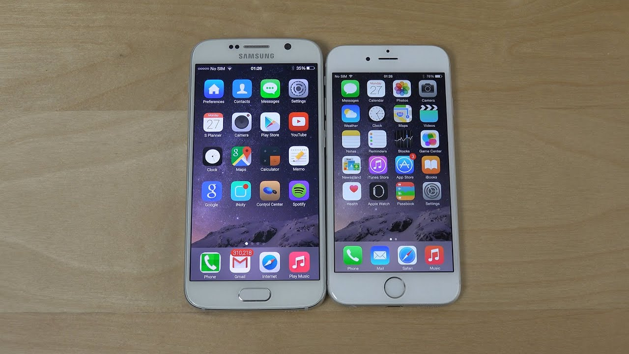 Samsung Galaxy S6 IOS 8 Theme Vs. IPhone 6 IOS 8