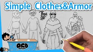 How to DRAW Clothes and Armor SIMPLE step by step line by line