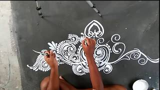 DOOR ALPONA Design  /সুন্দর ডোর আল্পনা /creative rangoli designs/kolam designs/ALPONA DESIGN