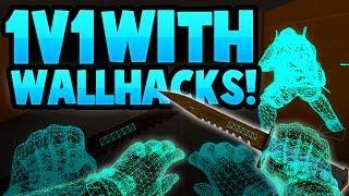 (1v1)ME vs SUBS! WITH WALLHACKS! CS:GO TROLLING!