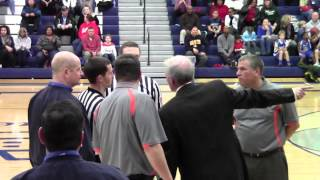 Referees and Grafton coaching staff confrontation during Wisconsin high school basketball game