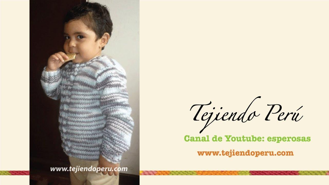 Chompa o sweater tejdo en dos agujas para niños (Parte 1) - YouTube