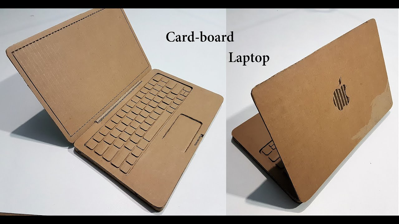How To Make A Book Holder Out Of Cardboard ~ How to make a laptop with cardboard apple youtube