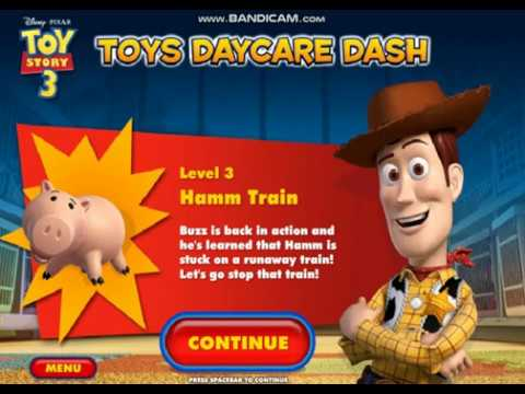 Toy Story 3's Toys Daycare Dash Walkthrough ~ Level 3: Hamm Train (ALL Collectibles)