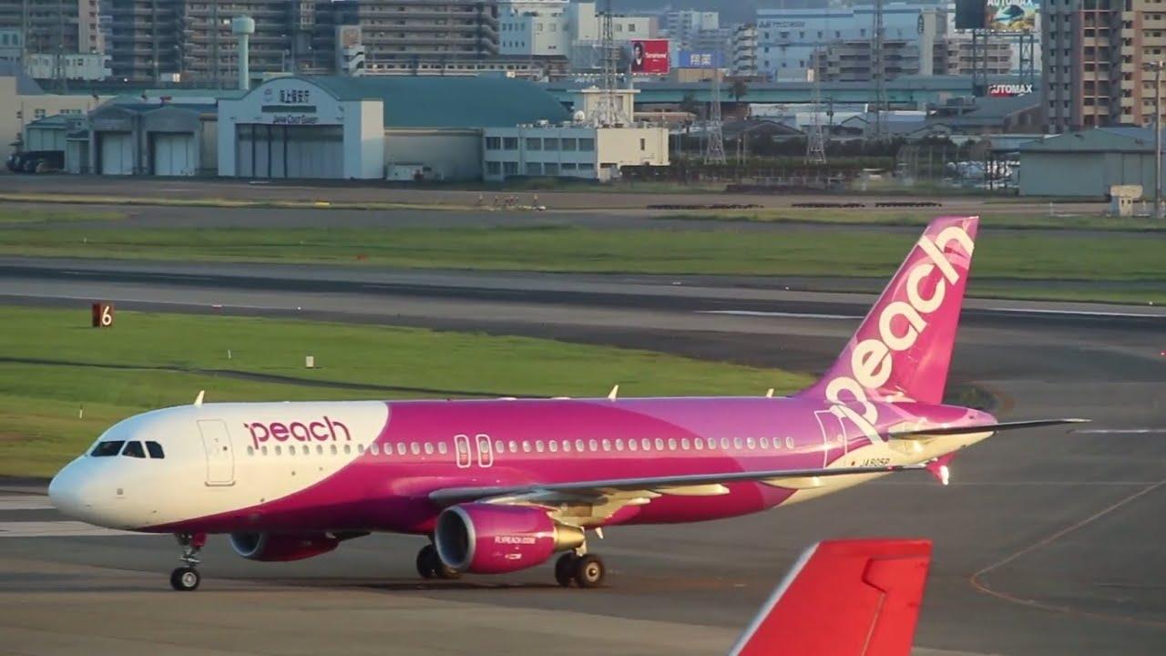 ピーチ著陸2連発 福岡空港 JA807P Peach Airbus A320-214 FUKUOKA Airport ...