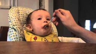 Leon Eating Gerber Lasagna With Meat Sauce & Also Gerber Herbed Chicken With Pasta