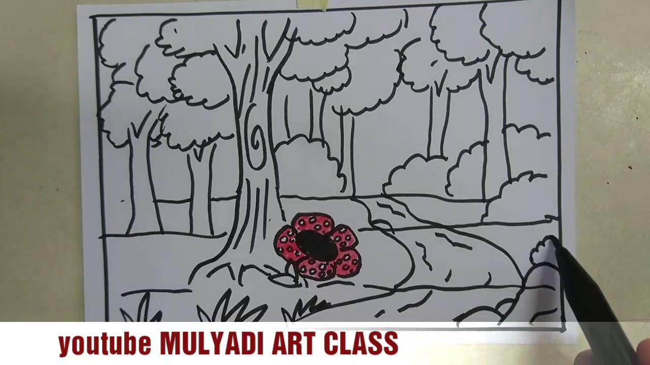 Cara Menggambar Bunga Raflesia Di Hutan Indonesia Youtube