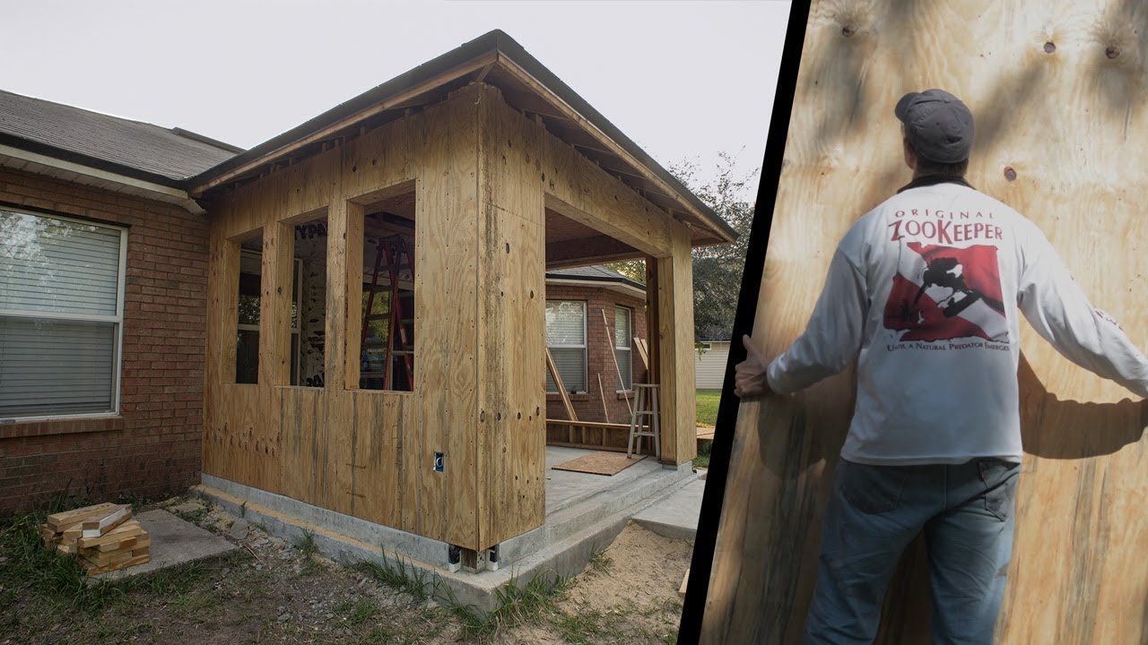 Installing Plywood Sheathing Turn Porch Into Room Vid 7