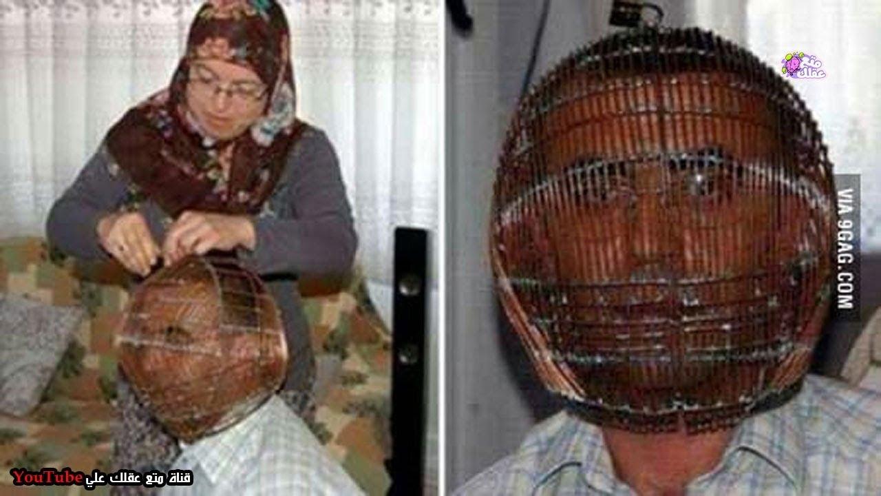 رجل تركي يضع قفصاً حديدياً على رأسه والمفتاح مع زوجته فقط !! - ولكن لماذا ؟؟