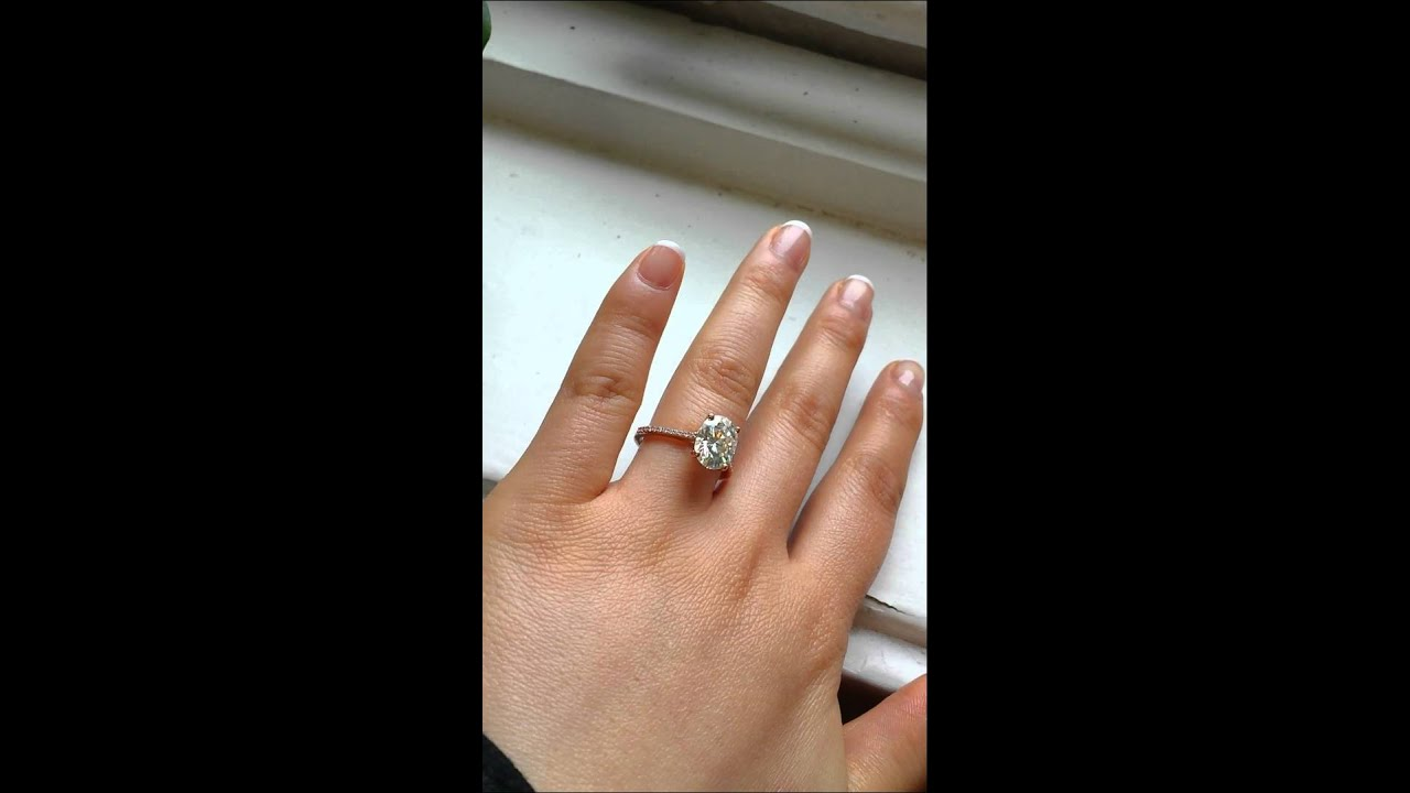 rosados box blake oval fb moissanite and diamond rose gold engagement ring youtube. Black Bedroom Furniture Sets. Home Design Ideas