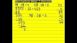Písemné dělení dvojciferným dělitelem ... 9313 : 22