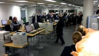 Finnair flight attendants dancing in Crew Center