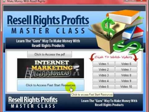 Resell Rights Master Class Hot to make money with resell rights products