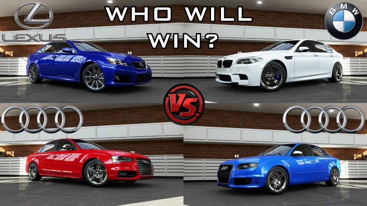 forza 5 bmw m5 f10 vs audi s4 vs lexus is f vs audi rs 4 youtube. Black Bedroom Furniture Sets. Home Design Ideas