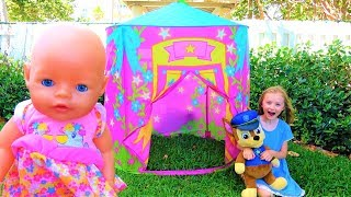Funny Kid playing with Baby Doll and Tent Princess  Castle