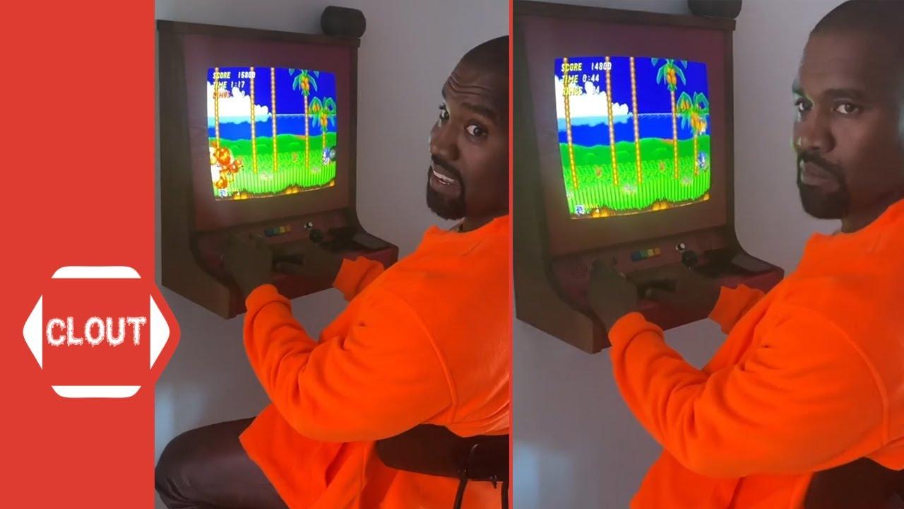 Kanye West At Kid Cudi's House Playing 'Sonic The Hedgehog' Arcade Machine Game!