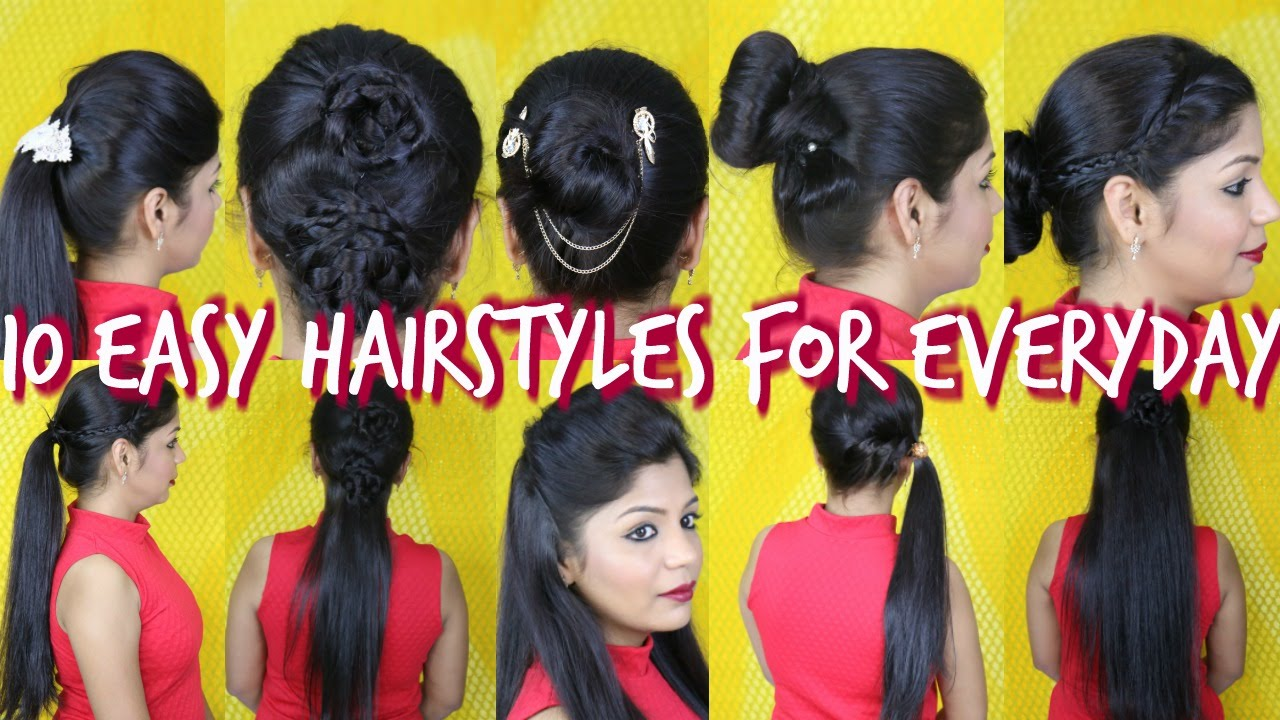10 Easy Hairstyles For Everyday | SuperPrincessjo - YouTube